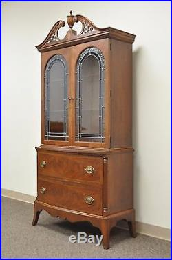 Antique Inlaid Mahogany Stained Leaded Glass Federal Style China Display Cabinet