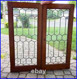 Antique LEADED GLASS CABINET DOORS OAK FRAMES (D)