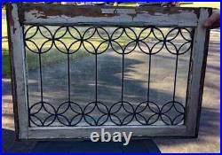 Antique LEADED GLASS WINDOW FANCY LEADING (B)