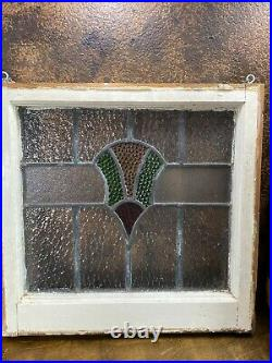 Antique LEADED STAINED GLASS WINDOW in FRAME / Vintage Architectural Salvage