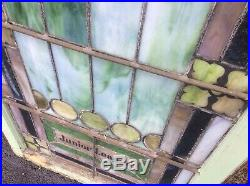 Antique Large 2 Piece Church Leaded Stain Glass Window 28.5 W X 76.5 T