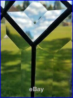 Antique Leaded Diamond Beveled Glass Tall Divider Door, Vestal Ny Mansion