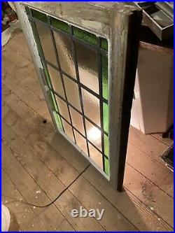 Antique Leaded Stained Glass Window Green & Privacy Glass 33 X 22