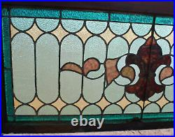 Antique Leaded Stained Glass Window Multi-Colored Lots of Green Shades