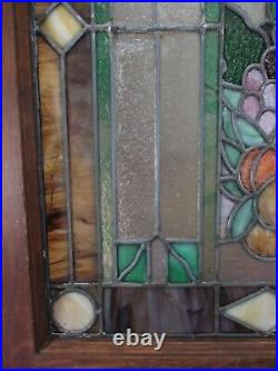 Antique Leaded Stained Stain Glass Window Panel Wood Frame Marbled Fruit Motif