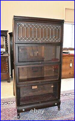 Antique Lundstrom Barrister Bookcase with Leaded Glass, 4 Stack