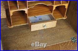 Antique Oak Side by Side Secretary Bookcase desk with leaded glass Fancy