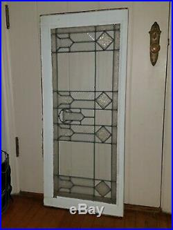 Antique Original Leaded Glass Window, 4 Styles Of Glass, Frank Lloyd Wright 1930
