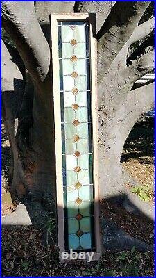 Antique Original Ultra Wide Stained Leaded Glass Transom Window Over 6 Feet Wide