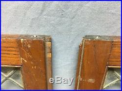 Antique Pair Oak Leaded Glass Book Case Doors 13x30 Vtg Cabinet Cupboard 424-20B