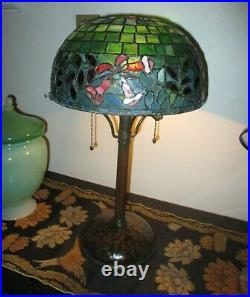 Antique Riviere Red Trumpet Vine Leaded Glass Lamp Riviere Bronze Base Handel