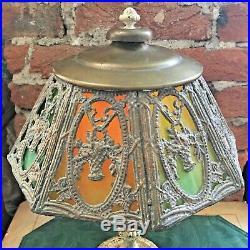 Antique Salem Bros. #10 Lamp with Leaded Slag Glass Shade Flower Basket Design