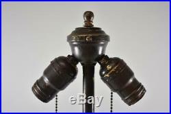 Antique Slag Glass Leaded Panel Lamp Base Floral Ribbon Bow Details
