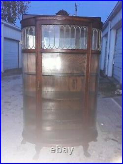 Antique Solid Oak Curved Glass China Cabinet Lead Gls Top