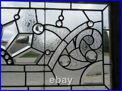 Antique Stained Beveled Jeweled Glass Transom Window 44 X 20 Salvage