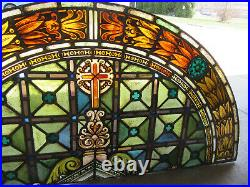 Antique Stained Glass Church Window 68.5 X 33.5 Architectural Salvage