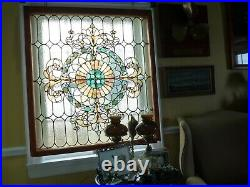 Antique Stained Glass Landing Window 42 X 46 Gorgeous