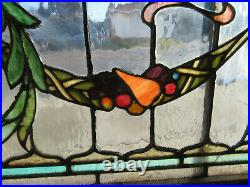 Antique Stained Glass Transom Window Festoons Fruit 52 X 18 Salvage