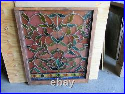 Antique Stained Glass Window 8 Jewels 38 X 45 Architectural Salvage