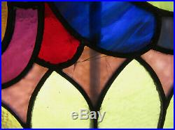 Antique Stained Glass Window Colorful 44.75 X 40.5 Architectural Salvage
