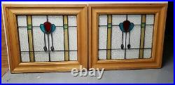 Antique Stained Glass Window Pair Architectural Salvage