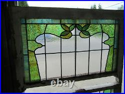 Antique Stained Glass Windows Art Nouveau Double Hung Top Bottom Salvage