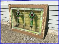 Antique Stained Leaded Glass Transom Window 28 by 20 1/2 Circa 1915