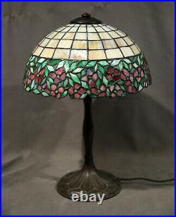 Antique Table Lamp Leaded Glass Red Flowers Bronze Base Handel
