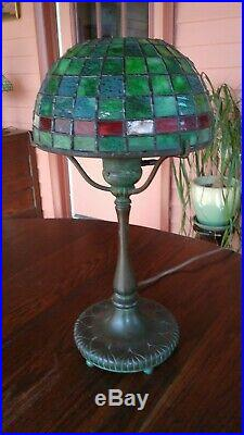 Antique Tiffany Studios Desk Lamp with Leaded Glass Shade. Handel/Duffner Era