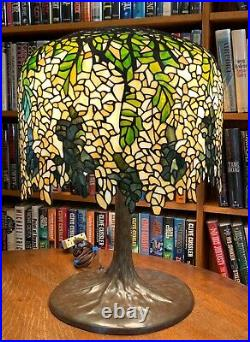 Antique Tiffany Studios Reproduction Wisteria Leaded Glass Lamp Bronze Tree Base