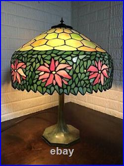 Antique Unique Art Glass leaded stained glass poinsettia lamp shade