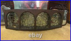 Antique Victorian Beveled Leaded Glass Transom Window 1880s STAINED Jewels