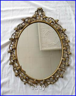 Antique Vintage Gold (Gilt) Leafy Lead Ormolu Filigree Oval Wall Mirror