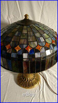 Antique Wilkinson lamp withleaded glass shade. B&H, Handel era