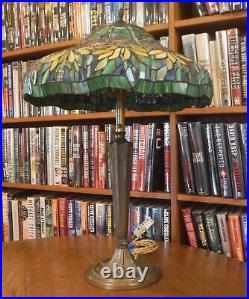 Antique leaded glass Bronze/Brass Lamp Handel Bradley & Hubbard Miller Empire
