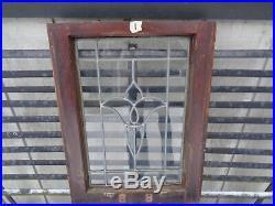Antique leaded glass tulip window rare size