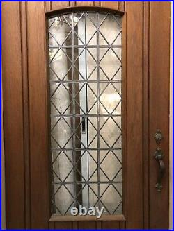 Arched Oak Leaded Glass Door with Encasement Frame and Hardware Mansion Salvage