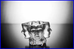 Art Deco Czech Bohemian Glass Ashtray Bowl Hand Cut Lead Crystal Human Races