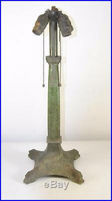 Arts & Crafts Bradley & Hubbard Celtic Mcintosh Rose Leaded Glass Lamp Base