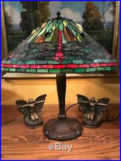 Arts Crafts Slag Glass Leaded Vintage Lamp Tiffany Studios / Handel Style NR