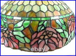 Beautiful Antique Tiffany Style Leaded Stained Glass Hanging Lamp withLarge Shade