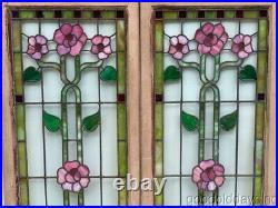 Beautiful Pair of Antique Stained Leaded Glass Cabinet Doors / Windows c. 1900