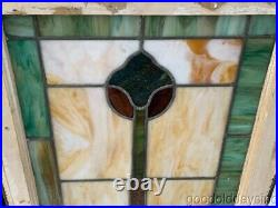 Beautiful Pair of Antique Stained Leaded Glass Windows 25 by 20 Circa 1925