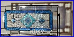 Beveled Stained Glass Window Panel, 20.5x10.5 At SEA-Ready to Hang