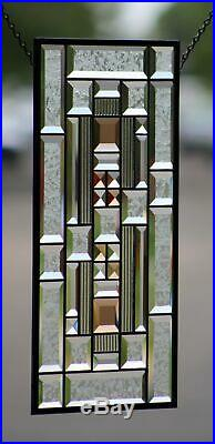Beveled Stained Glass Window Panel, Clear with Amber Highlights