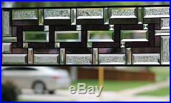 Beveled Stained Glass Window Panel, Hanging, Sidelight, Transom, Purple