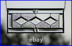 Beveled Stained Glass Window Panel, Ready to Hang 19 1/2 X 8 1/2