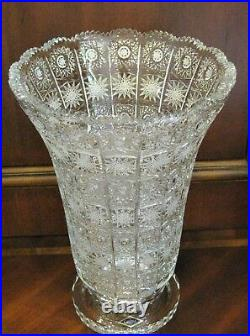 Bohemian Czech Vintage Crystal 12 Tall Vase Hand Cut Queen Lace 24% Lead Glass