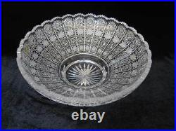Bohemian Czech Vintage Crystal 14 Round Bowl Hand Cut Queen Lace 24% Lead Glass