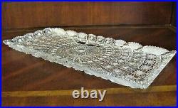 Bohemian Czech Vintage Crystal 16 Rectangul Platter Hand Cut QueenLace 24% Lead